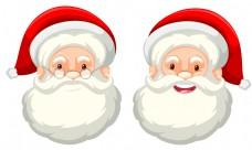 白色背景上的圣诞老人面部表情