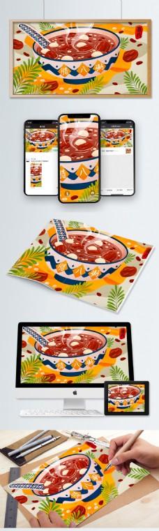 传统节日腊八节美味腊八粥美食插画