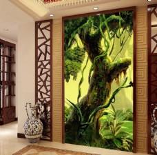 油画风格神秘森林大树玄关