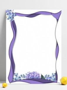 剪纸风紫色花朵背景设计