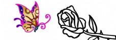 玫瑰与蝴蝶