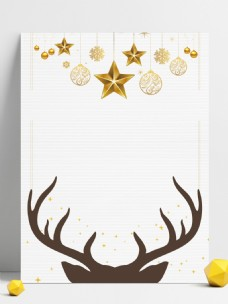 简约麋鹿角圣诞节白色背景素材
