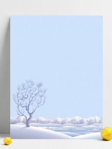 立冬简约枯树白色背景素材