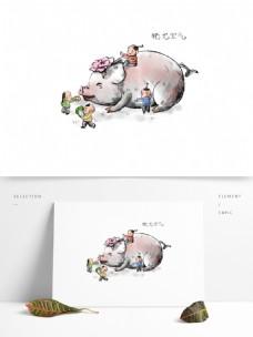 2019春节猪年国画系列