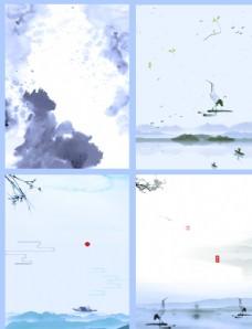 白色背景简约中国风海报背景