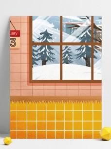 冬季窗外雪景背景设计