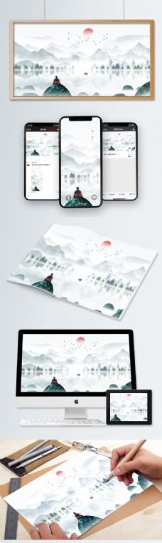 中国风水墨山水唯美山水复古水墨风景水彩画