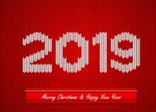 紅色2019年針織藝術字