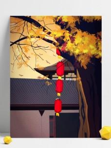 传统中国风灯笼背景设计