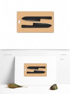 生活用品菜刀砧板效果图案素材