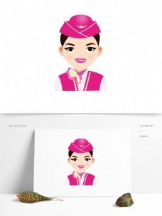 扁平风人物肖像头像女空姐乘务员