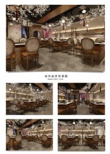 中式风格意境餐饮店效果图