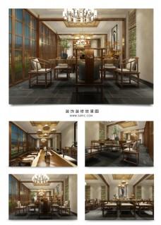 中式意境客房餐厅效果图