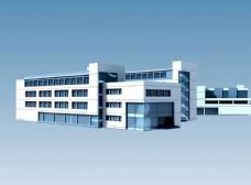 现代学校教学楼区建筑群