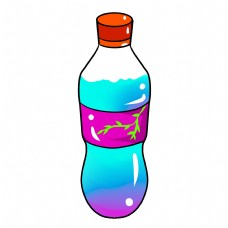 彩色手绘饮料瓶子元素