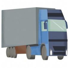 手绘蓝色货车插画