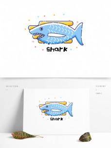 矢量简约可爱卡通海洋动物鲨鱼