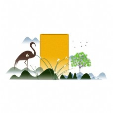 水墨中国风群山边框设计