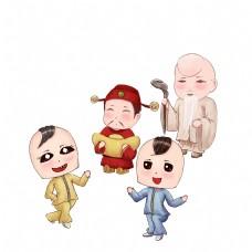 新年庙会扭秧歌大头娃娃财神寿星卡通手绘场景