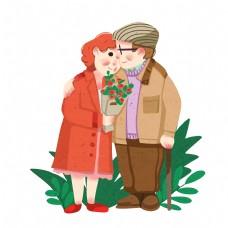 情人节老人拥抱插画