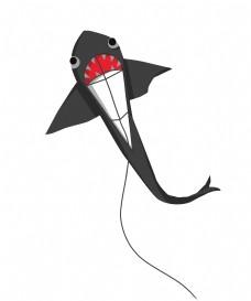 黑色鲨鱼风筝插画