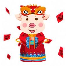喜庆创意猪年插画设计