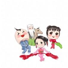 新年庙会扭秧歌队旱船舞彩绸舞扇子舞大头娃娃场景