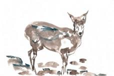 河涧小鹿水彩画PNG免抠素材