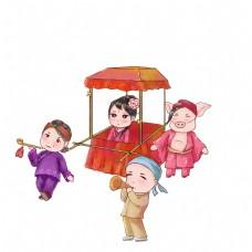 新年庙会抬轿子扭秧歌队伍卡通手绘场景