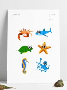 卡通可爱海底动物元素套图可商用