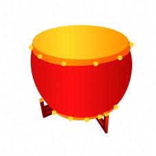 中国风红色大鼓插画