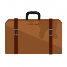 手绘棕色行李箱插画
