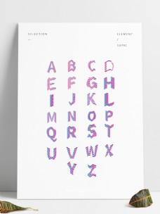 二十六英文字母波普风立体渐变商用字体