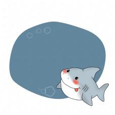 蓝色的鲨鱼边框插画