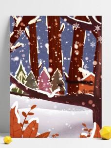 二十四节气之小雪树木背景