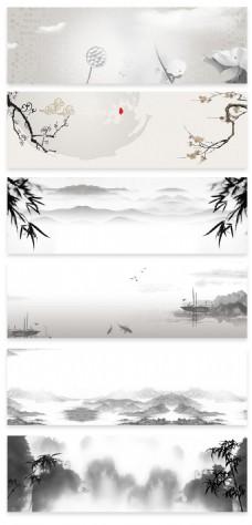 中国风中秋节水墨古风banner海报背景