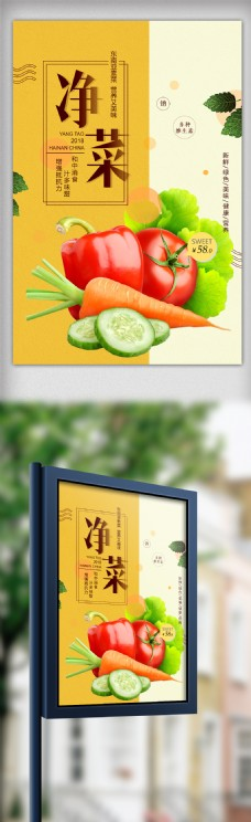 创意时尚净菜蔬菜宣传海报设计模板