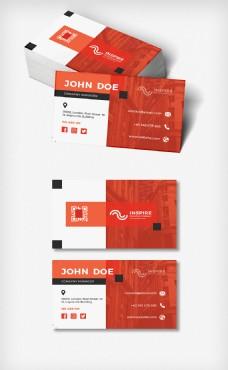 红色大气商务名片模板