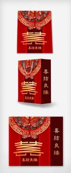 2018红色大气婚庆婚礼手提袋设计