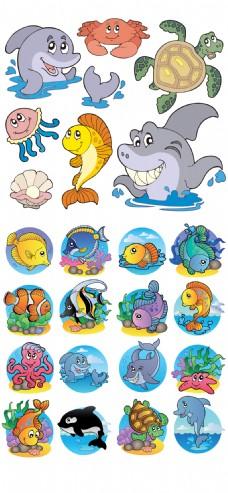 卡通手绘海洋生物eps矢量素材