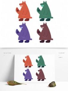 彩色的矢量动作熊