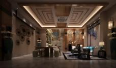 新中式书房茶厅效果图3D模型