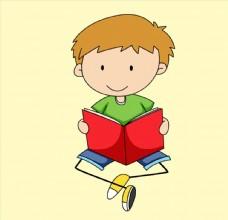 卡通读书儿童