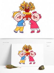 卡通可爱拿着聚宝盆的小猪设计