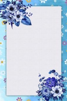 简约蓝色花卉边框电商淘宝背景H5矢量元素