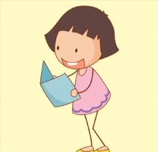 卡通读书女孩