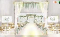 白绿小清新婚礼效果图