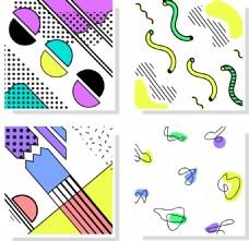 手机四款卡通图案背景底纹矢量素材