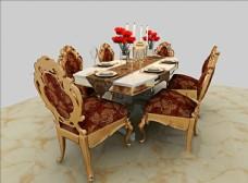 奢华欧式餐桌3d模型