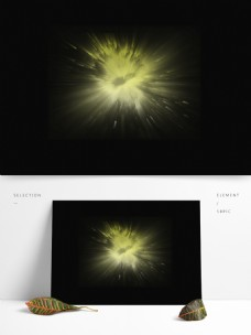 手绘水彩漂浮黄色放光装饰